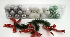 Weihnachtsbaumkugeln matt & glänzend 35 Stück im Set silber weiß & mint grün