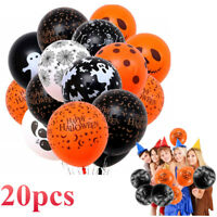 "20Pcs Happy Halloween 12"" Balloons with Pumpkin Ghost Skeleton Spider Castle"