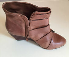 BERTIE LADIES WEDGE HEEL CHELSEA LEATHER ANKLE BOOTS  SIZE 5