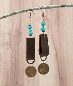 Western Leather, Turquoise and Indian Penny Earrings, Cowgirl Earrings, Coin Ear