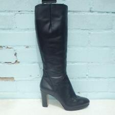 Nine West Cuero Botas Talla Uk 4 EUR 37 para Mujer Sexy Zapatos Botas De Plataforma Negro
