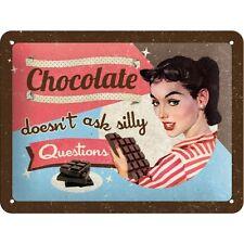 Targa in Latta Vintage  Chocolate Doesn't Ask decorato 15 x 20