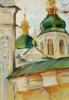 """Russischer Realist Expressionist Öl Leinwand """"Kloster"""" 46 x 32 cm"""