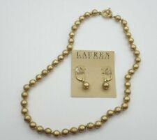 Lauren Ralph Matt Gold Tone Beaded Antique Toggle Necklace Drop Earring Set