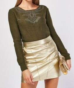 Ladies Long Sleeved Cropped Jumper Diamonte Studded Knitted Top Sizes 8-10-12-14