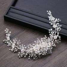 Pearl Beads Shiny Crystal Tiara Crown Hair Wedding Piece Bride Headband Fashion