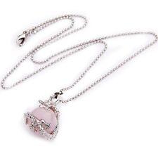 16 mm Rose Quartz Metal Pendant Chain Necklace Collier Y6M1