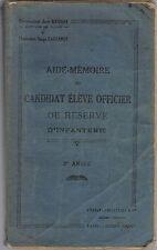 AIDE MÉMOIRE de L'ÉLÈVE OFFICIER de Réserve de Jean Brosse & Serge Lagrange 1937