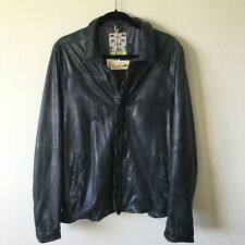Scotch And Soda Mens Size Large Genuine Leather Coat Jacket In Navy Blue