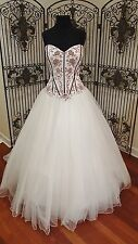 135 SINCERITY BRIDAL 3794 SZ 16 IVORY BURGUNDY WEDDING DRESS  GOWN W VEIL $1107