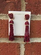 💖🌟NWT Kendra Scott Cecily Drop Statement Earrings in Maroon Jade / RSG 🌟💖