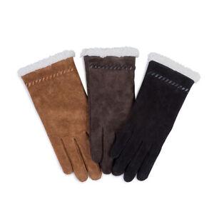 Isotoner Ladies Suede Glove with Sherpa Trim
