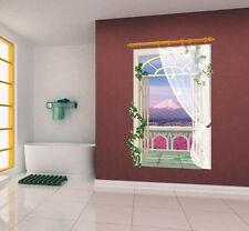 3D Window Ocean & Flowers View Wall Stickers,Wall Decals SK_FUYY_B