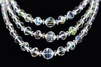 LAGUNA Signed Vintage Necklace Aurora Borealis Crystal Triple Layered Shiny Bin3