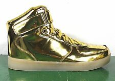 Men's Shoes GOLD LED Light Sneakers USB Charged Dance Size 8 High-Tops