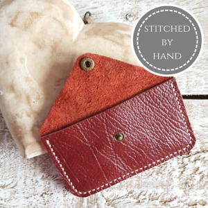 Red Leather Woman Wallet Minimalist Simple Oxblood Handmade Card ID Holder Gift