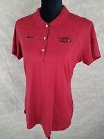 NIKE Womens Arkansas Razorbacks Size Large Short Sleeve Shirt Embroidered Red