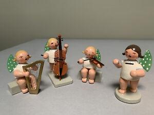 Erzgebirge Angels Harp Cello Violin Conductor 4 Piece Set