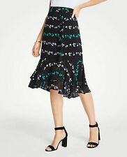Ann Taylor Black Floral Double Flounce Chiffon Skirt Size 8
