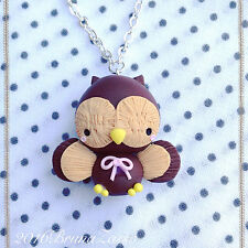 Collana Gufo Gufetto ~ Cute Owl Necklace Fimo Polymer Clay Kawaii Autunno Dolce