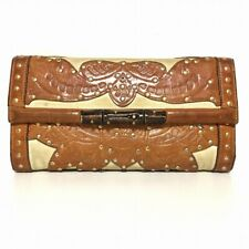 Auth GUCCI Bamboo 120946 Brown Cream Leather Canvas Long Wallet