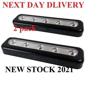 2X BLACK BRIGHT 5 LED STRIP PUSH LIGHTS STICK ON BATTERY KITCHEN SHED CUPBOARDS