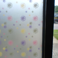 FROSTED WINDOW FILM FLORAL MULTICOLOUR PRIVACY DECORATIVE - 90cm x 1m Roll WT026