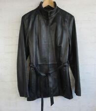 Worthington Womens Size Tall Medium Black Lambskin Soft Coat Belted Zipper