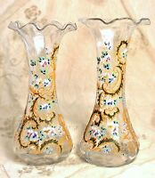 Antique Vintage MOSER Style Bohemian Hand Blown Glass Ruffled Rim Enamel Vase