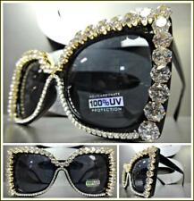 OVERSIZED EXAGGERATED RETRO Cat Eye Style SUN GLASSES Black Frame Bling Crystals