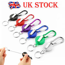 1/ 2Pc Heavy Duty Retractable Pull Keyring Stainless Steel Ring Key Chain Recoil