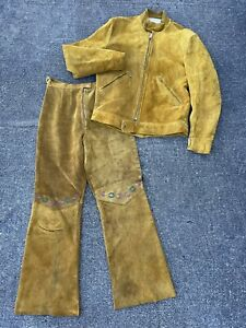 Vintage 1970s Wheels Of Man Yellow Gold Suede Leather Motorcycle Jacket & Pants