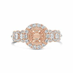 Marquise Diamond Engagement Round Semi Mount Ring 18K Rose Gold Halo Solitaire