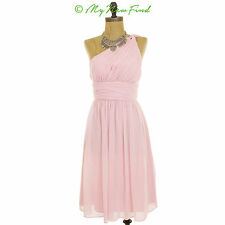 Donna Morgan One Shoulder 'Rhea' Chiffon Dress Wedding Bridesmaid Pink 0 B49