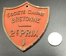 New listing French Dog Plaque 2nd Place Shield Shape Award From France