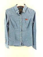 SUPERDRY Womens Shirt S Small Blue White Stripes Cotton