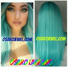Kylie jenner,   hair.  lace wig.  Dark root. Tourquoise blue human