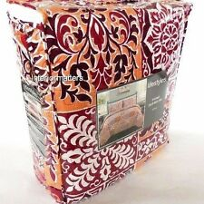 Lifestyles Homes 3PC KING QUILT SHAM SET PAISLEY FLORAL Red Burgundy NEW
