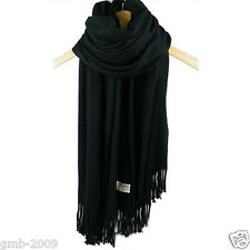 New Women's Fashion Black 100% Cashmere Pashmina Soft Warm Wrap Shawl Scarf