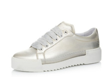 Bronx Metallic Leather Lace Up Flat Form Trainers Pale Gold Size UK 5 EU 38 £113