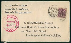 Mayfairstamps Mexico 1940s Lost Otates Censored to Los Angeles CA Cover wwo81603