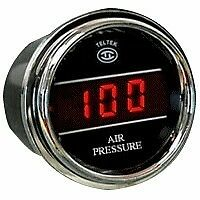 Teltek Air Pressure Gauge for Any Semi, Pickup Truck or Car - PSI Range 0-100