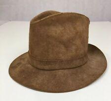 Vintage HENSCHEL HAT CO Brown Leather Cowboy Western Hat Size Large