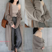 Womens Ladies Warm Cashmere Knitted Cardigan Long Sweater Stretch Coat Outerwear