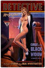 Black Widow Crime Noir Hildebrandt Vintage Metal Sign Pinup Nude Wall Art Signed