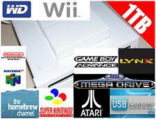White Nintendo Wii Console 1TB Hard Drive Retro Emulators Game 32GB SD
