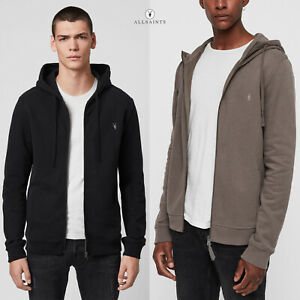 All Saints Mens Zip Hoodie Designer Raven Zip Thru Hooded Sweatshirt Hoody