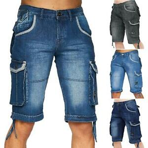 Mens Crosshatch Denim Cargo Shorts Knee Length Casual Combat Multi Pocket Pant