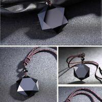 schmuck segen männer glück hexagramm form halskette amulet obsidian anhänger