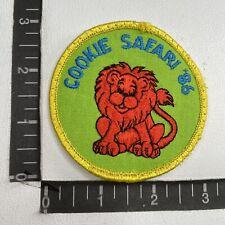 Vtg 1986 Safari Animal Lion Cookie Safari '86 Girl Scouts Patch S98Y